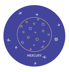Planet mercury icon in thin line style vector