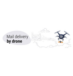 quadcopter express air mail delivery by drone vector image