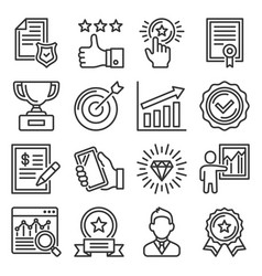 quality icons set on white background vector image