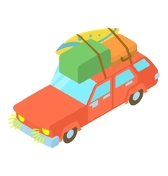 Red car with luggage and boxes icon vector