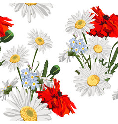 Seamless pattern poppy flowers with chamomile vector