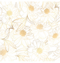 seamless pattern with peony camelia flowers on vector image