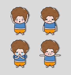 set boy with emotion faces character vector image