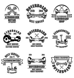 Set gyroboard service store repair emblems vector
