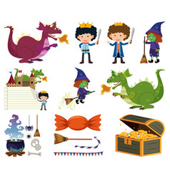 set isolated objects theme fairytales vector image