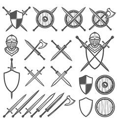 set medieval swords shields design element vector image