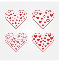 Set of heart symbols vector image