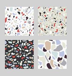 set terrazzo seamless pattern marble tile vector image
