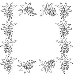 Silhouette floral frame vector