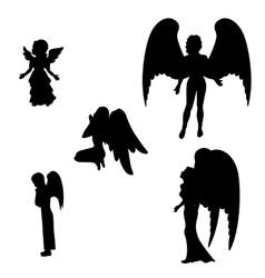 Silhouette of a black angel vector