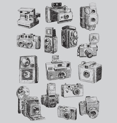 Sketchy Vintage Camera Set vector image