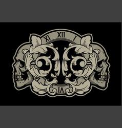 skulls clock and foliage pattern vintage vector image