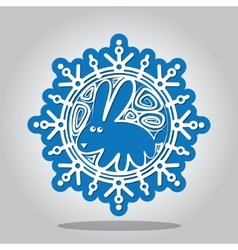 Snowflake in the image Year of the Rabbit vector