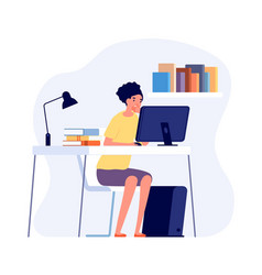 Studying process student reading at desk online vector