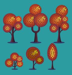 stylized autumn plants set vector image