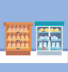 supermarket refrigerator with shelf and products vector image