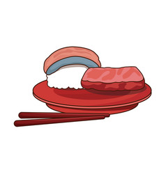 sushi food japanese fish rice with plate and vector image