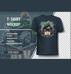 T-shirt mock-up template with atv quad bike logo vector
