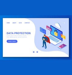 The concept of data protection secure online vector