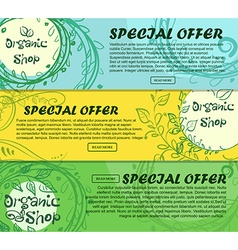 Three horizontal banners of organic shop with vector image