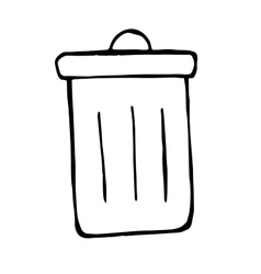 trash bin in doodle style hand drawn vector image