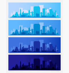 Trendy city skyline colored sets in different time vector