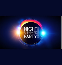 tropic night summer party banner palms leaves vector image