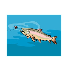 Trout fish with bait vector
