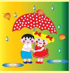 Two children a boy and a girl under an umbrella vector