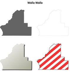 Walla map icon set vector