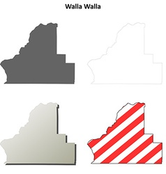 Walla Walla Map Icon Set vector