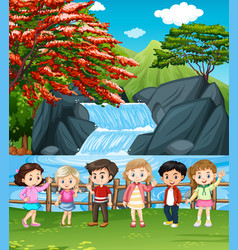 Waterfall scene with many children vector