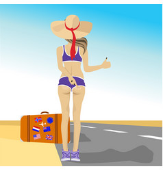 young woman hitching on highway vector image