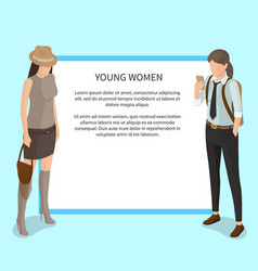 young women poster with white frame and students vector image