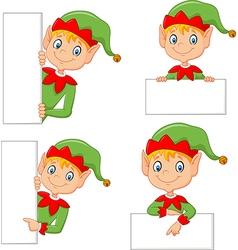 Cartoon cute elf with blank vector image vector image