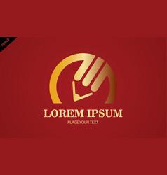 gold pencil write logo vector image vector image