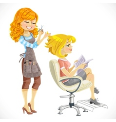 Hairdresser does a hairstyle to the client vector image vector image