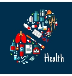 Medicines healthcare flat icons in shape of pill vector image