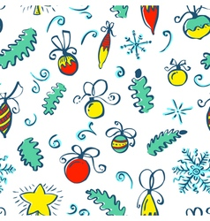 Winter seamless pattern with decoration balls vector