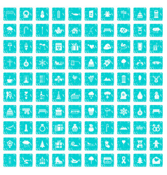 100 winter holidays icons set grunge blue vector image vector image