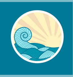 badge with sea wave and sun vector image vector image