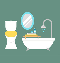 Bathroom icons colored set with process water vector