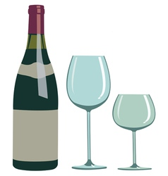 bottle of wine and two glasses vector image vector image