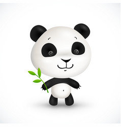 Little cute panda bear with green leaves vector image