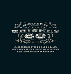Ornate serif extended font in retro style vector