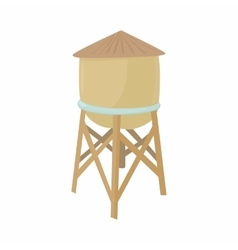 Water tower icon in cartoon style vector image
