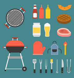 barbecue icons set vector image vector image