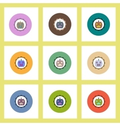 flat icons Halloween set of coaster with pumpkin vector image vector image