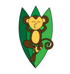 Funny brown monkey relaxes vector image vector image