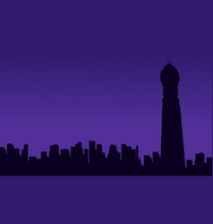 london city building with bt tower silhouettes vector image